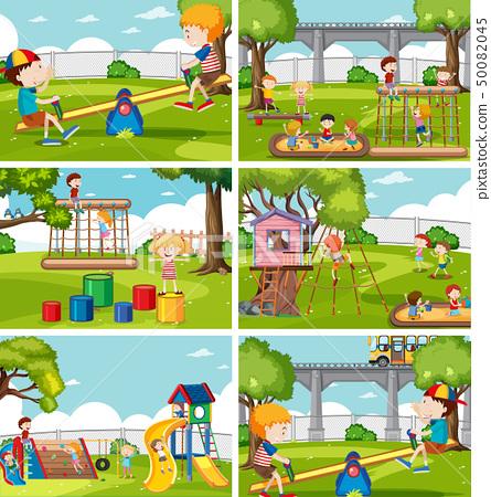 Children at playground set 50082045