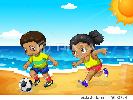 African boy and girl playing football 50082249