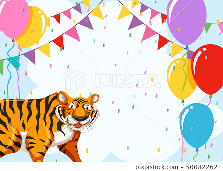 Tiger on party template 50082262