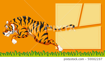 Tiger on note template 50082287