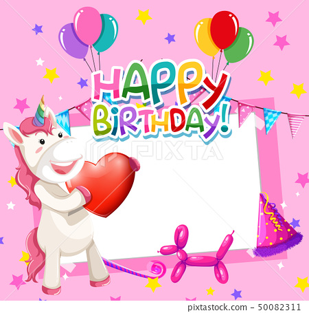 Unicorn on birthday frame 50082311