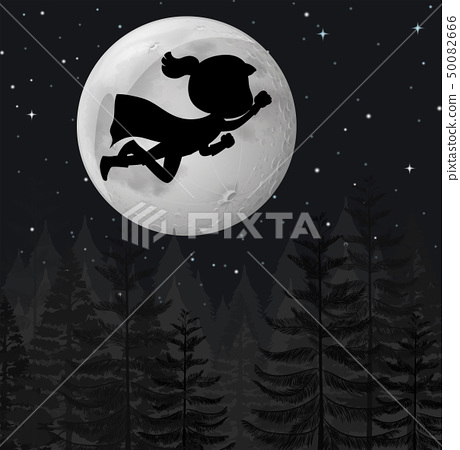 A super hero flying at night 50082666