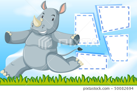 A rhinoceros on note template 50082694