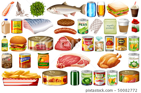Set of food on white background 50082772