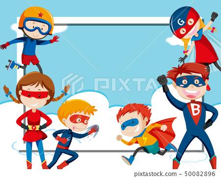 Super hero frame template 50082896