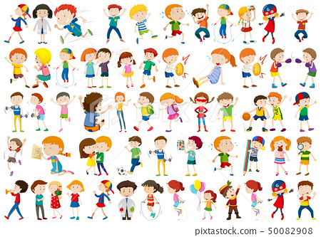 Kids playing sport set 50082908