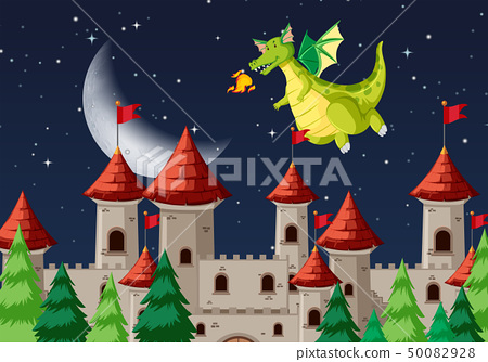 A medieval night scene 50082928