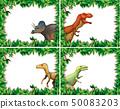 Set of dinosaur in nature frame 50083203