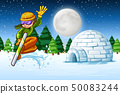 Man skiing in snow scene 50083244