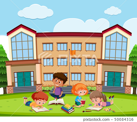 Student learning in front of school 50084316