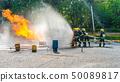 Fire drill training or fireman presentation  50089817