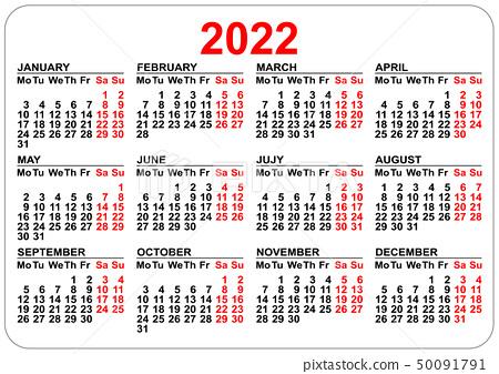 Work Week Calendar 2022.Office Pocket Calendar 2022 Year Template Stock Illustration 50091791 Pixta