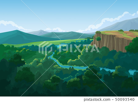 Forest view and mountains in the morning. 50093540