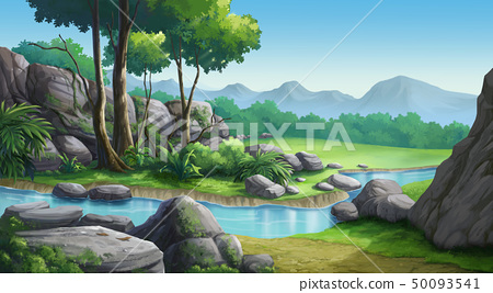 Mountains, forests and streams in the clear sky 50093541