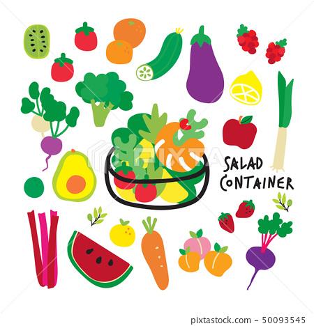 Food doodle line art design element set, wallpaper 50093545