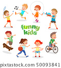 Uniformed happy kids playing sports. Active children vector characters 50093841