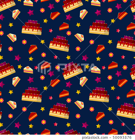 Pleasing Colorful Birthday Cakes Seamless Pattern Stock Illustration Funny Birthday Cards Online Elaedamsfinfo
