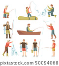 Summer fishing sport vacation vector flat icons. Fishermen with fish set 50094068