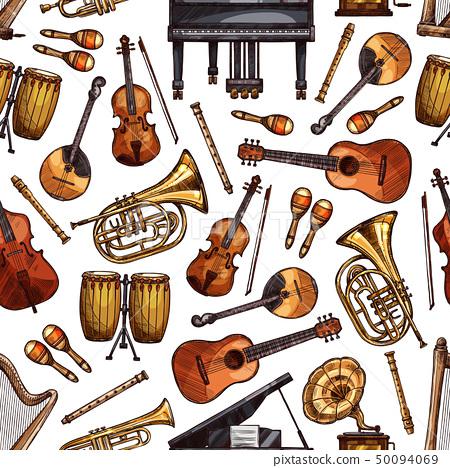Folk music instruments sketch seamless pattern 50094069