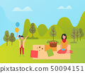 Mom and Daughter in Park, Family Weekend Vector 50094151