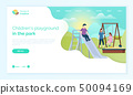 People on Playground, Website with Children Vector 50094169