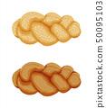 Braided bread bun icon 50095103