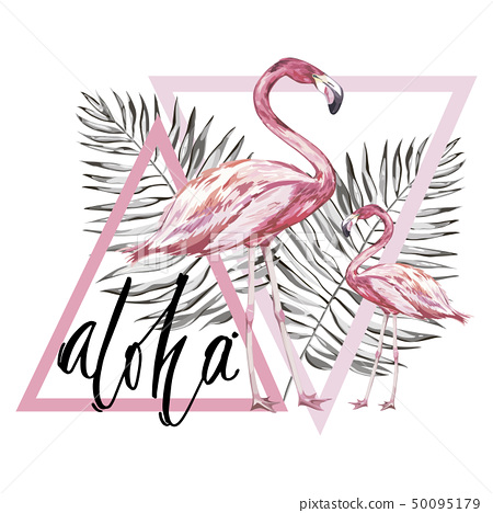 Word- Aloha. Flamingo with tropical flowers. Element for design of invitations, movie posters 50095179