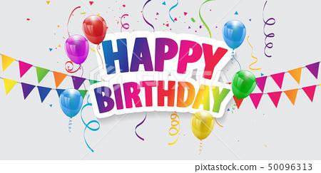 Happy Birthday balloons Colorful celebration 50096313