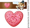 Pink sprinkles heart cookie illustration. Cartoon vector icon isolated on white background 50097284