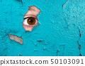 Eye spying through a wall 50103091