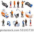 Broadcasting Isometric Icons Set  50103730