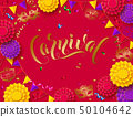 Colorful carnival background with lettering design and streamer, mask, paper flowers 50104642