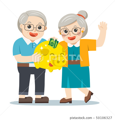 Grandpa and grandma standing with gold piggy bank 50106327
