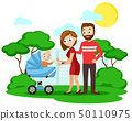 Young parents with a small child in a wheelchair 50110975