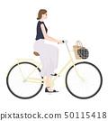 一名婦女的例證。一個很酷的女人騎著傳統的自行車。 50115418