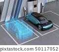 數字網格樣式處理了電動汽車的圖像。數字雙胞胎概念 50117052