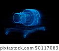 X-射線樣式噴氣機引擎的Wireframe圖像。數字雙胞胎概念 50117063