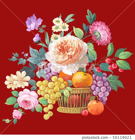 色彩豐富的玫瑰花和牡丹 50119021