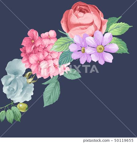 美麗的水彩玫瑰花和牡丹花 50119655