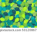 잎으로 가득 찬 배경 (수채화 일러스트) 50120867