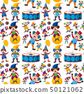 Seamless background with happy clowns 50121062