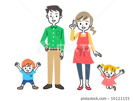 가족 부모와 자식 2 세대 부모 형제 세트 50121155