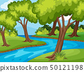 Forrest scene with river run through 50121198