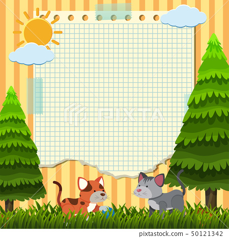 Paper template with two cats in the park 50121342