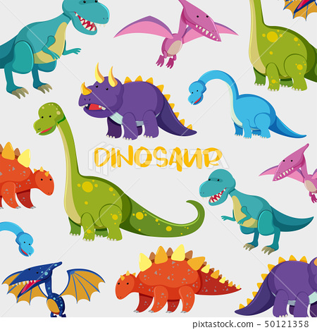 Background design with many cute dinosaurs 50121358