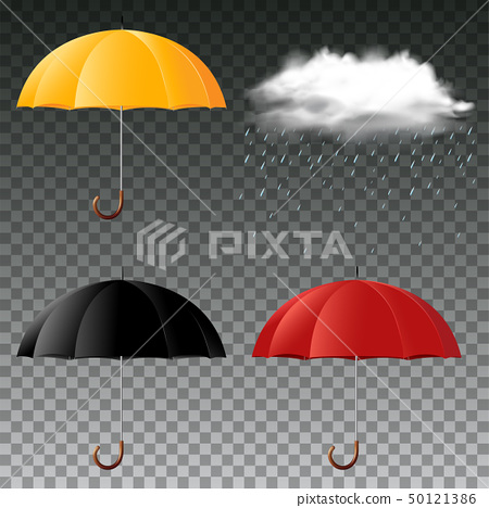 Umbrella in three colors and rainy cloud 50121386