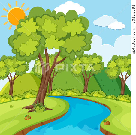 Forest scene with trees and river 50121391