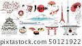 Japan watercolor illustration set 50121922