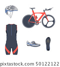 Triathlon set. Vector bicycle equipment and clothes. 50122122