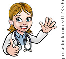 Doctor Cartoon Character Sign Thumbs Up 50123596